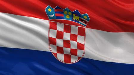 bandera de croacia: Bandera de Croacia ondeando en el viento