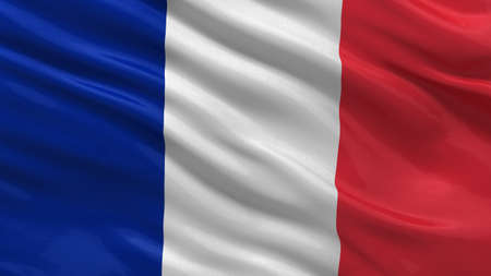 Flag of France waving in the wind Stock Photo