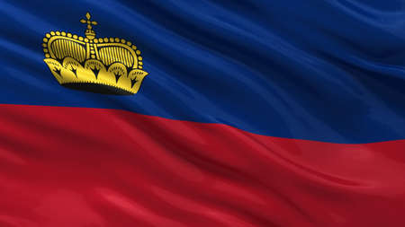 Flag of Liechtenstein waving in the wind photo