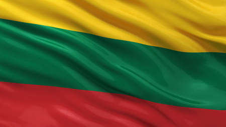 lithuanian: Flag of Lithuania waving in the wind