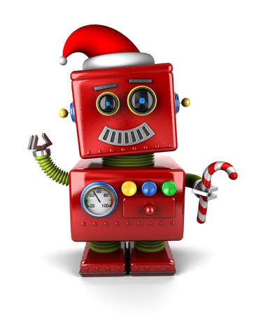 Happy vintage toy robot wearing a Santa hat and holding a candy cone  Stock Photo