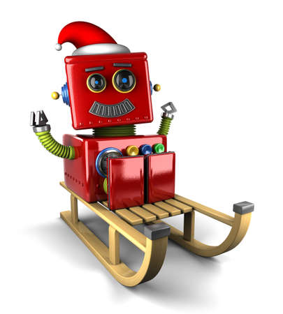 Happy Santa Claus robot on wooden sled over white background photo