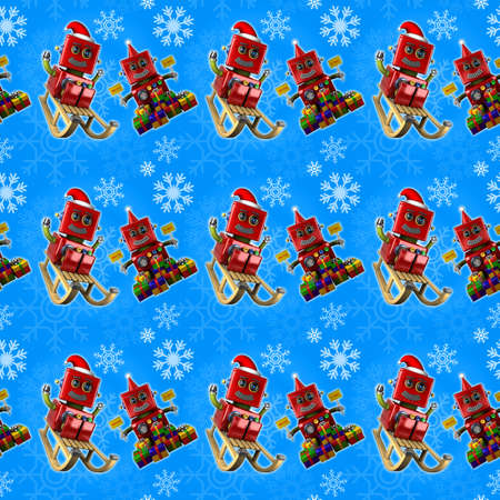 Seamless vintage toy robot design with Santa Claus hat, sled and presents Stock Photo - 23308934