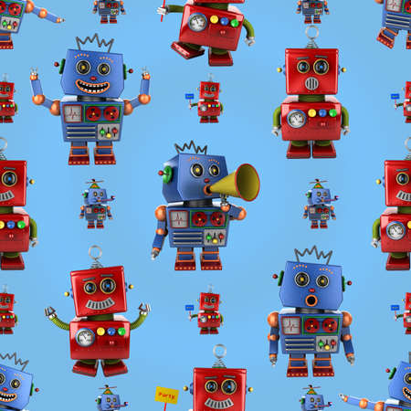 Seamless pattern with happy vintage toy robots over light blue background photo