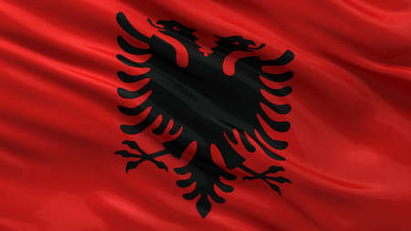 Flag of Albania waving in the wind photo
