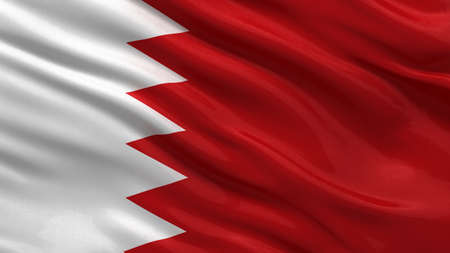 bahrain: Flag of Bahrain waving in the wind Stock Photo