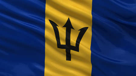 barbadian: Flag of Barbados waving in the wind