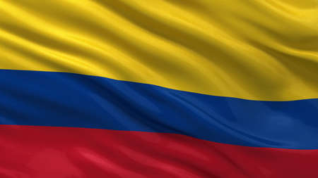 colombia flag: Flag of Colombia waving in the wind Stock Photo