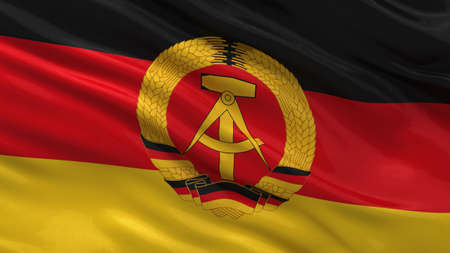democratic: Flag of the German Democratic Republic waving in the wind