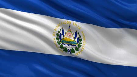 bandera de el salvador: Bandera de El Salvador ondeando en el viento Foto de archivo