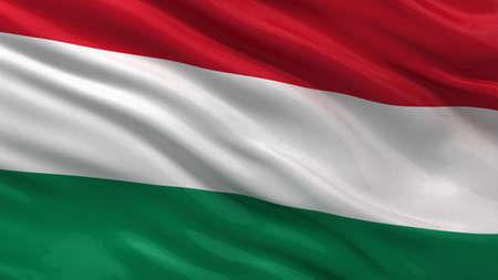 Flag of Hungary waving in the wind photo