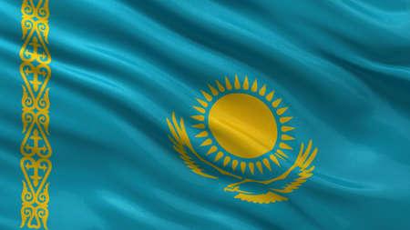 kazakhstan: Flag of Kazakhstan waving in the wind