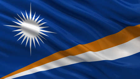 marshall: Flag of Marshall Islands waving in the wind