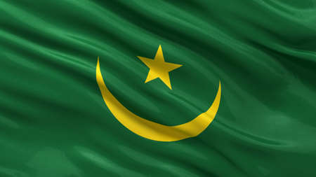 Flag of Mauritania waving in the wind photo