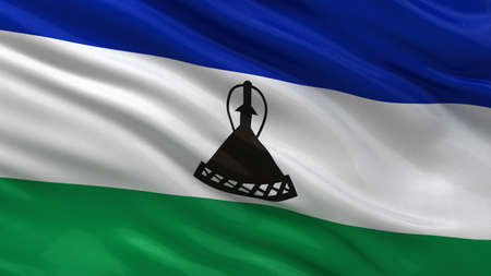 lesotho: Flag of Lesotho waving in the wind