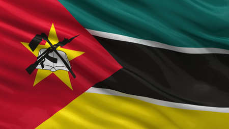Mozambique: Flag of Mozambique waving in the wind