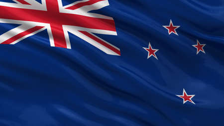 bandera de nueva zelanda: Bandera de Nueva Zelandia ondeando en el viento