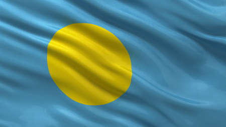 palau: Flag of Palau waving in the wind