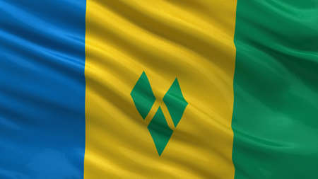 grenadines: Flag of Saint Vincent and the Grenadines waving in the wind