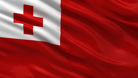 tonga: Flag of Tonga waving in the wind Stock Photo