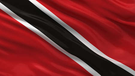 national flag trinidad and tobago: Flag of Trinidad and Tobago waving in the wind Stock Photo