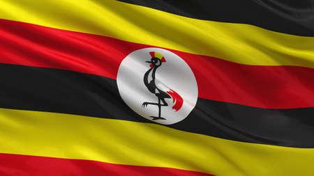 uganda: Flag of Uganda waving in the wind