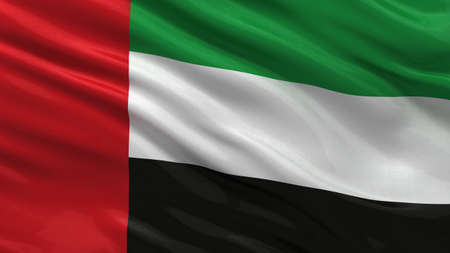 arab flags: Flag of the United Arab Emirates waving in the wind