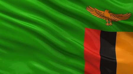 zambian: Flag of Zambia waving in the wind