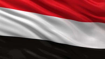 yemen: Flag of Yemen waving in the wind Stock Photo