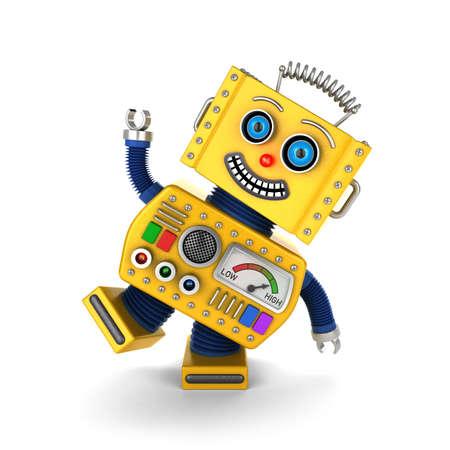 Leuke gele vintage speelgoed robot op een witte achtergrond met plezier Stockfoto