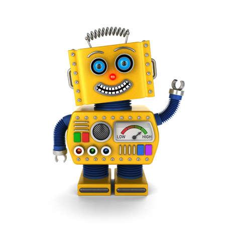 Leuke gele vintage speelgoed robot op een witte achtergrond wuivende hello