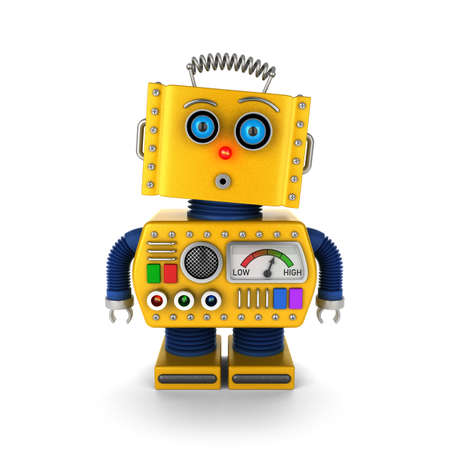 Cute yellow vintage toy robot with a surprised facial expression over white background Foto de archivo