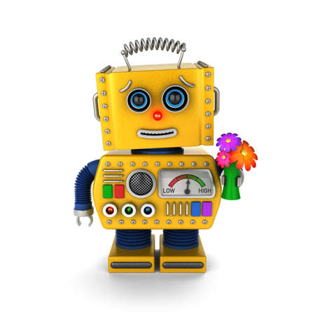 Yellow vintage toy with a flower bouquet sending a get well wish over white background Foto de archivo