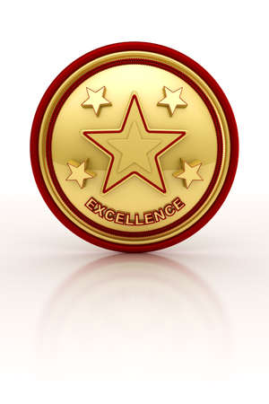 five star: Golden seal with five stars for outstanding excellence Stock Photo
