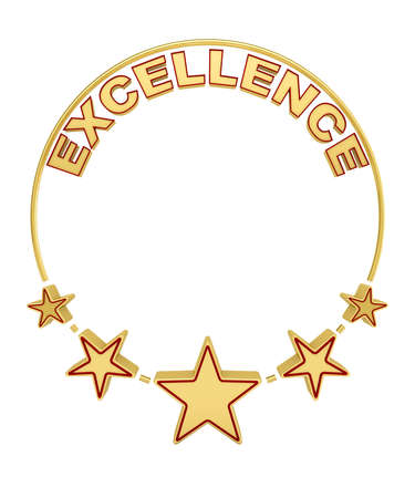 restaurant rating: Excellence award with five stars over white background