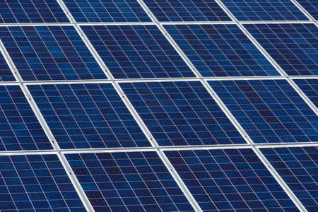 angled view: Angled view of solar panels on a sunny day Stock Photo