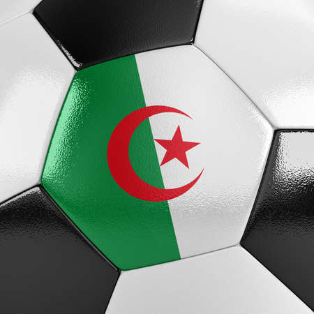 Algierski: Close up view of a soccer ball with the Algerian flag on it