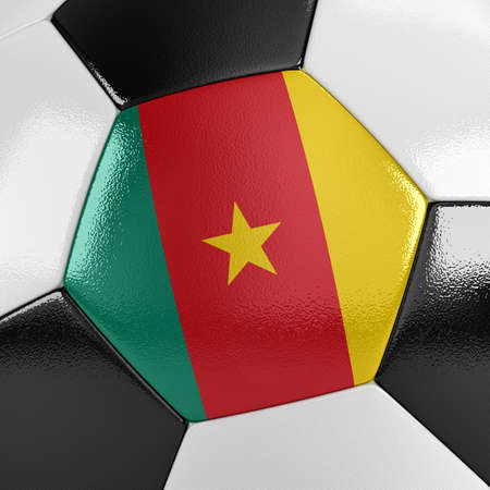 cameroonian: Close up view of a soccer ball with the Cameroonian flag on it