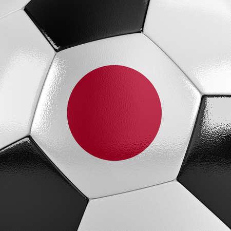 それに日本の国旗とサッカー ボールのビューをクローズ アップ