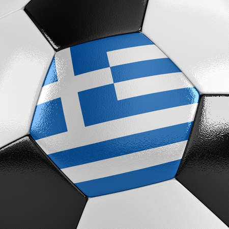 Close up view of a soccer ball with the Greek flag on it photo