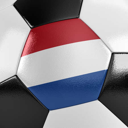 dutch flag: Close up view of a soccer ball with the Dutch flag on it Stock Photo