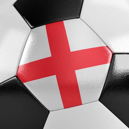 drapeau anglais: Gros plan sur un ballon de football avec le drapeau anglais sur elle Banque d'images