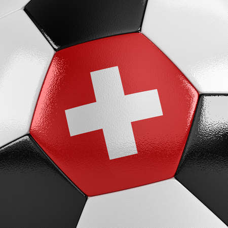 swiss flag: Close up view of a soccer ball with the Swiss flag on it