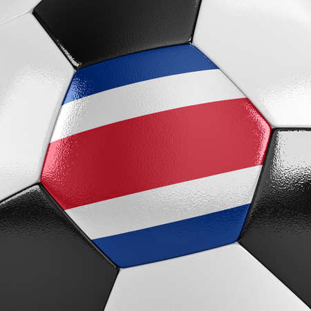 rican: Close up view of a soccer ball with the Costa Rican flag on it