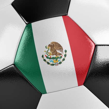 bandera mexicana: Cierre de vista de una pelota de fútbol con la bandera mexicana en ella