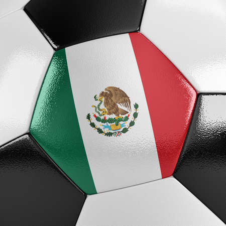 drapeau mexicain: Gros point de vue d'un ballon de football avec le drapeau mexicain sur elle Banque d'images