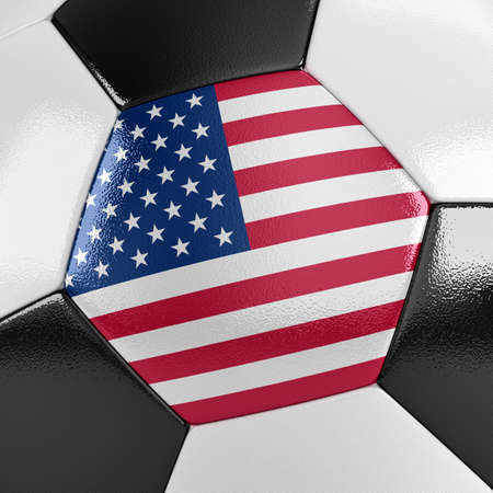 competitor: Close up view of a soccer ball with the American flag on it