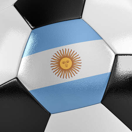 argentinian flag: Close up view of a soccer ball with the Argentinian flag on it