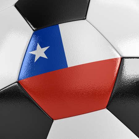 bandera chilena: Cierre de vista de una pelota de f�tbol con la bandera chilena en �l Foto de archivo