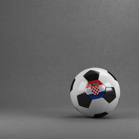 croatia flag: Croatian soccer ball in front of plaster wall Stock Photo